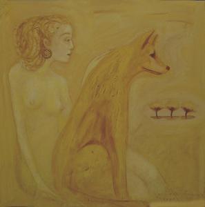 Naine kollase koeraga