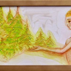 Angel and young fir Trees